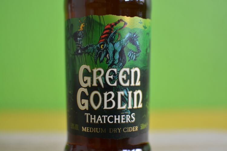 Thatchers Green Goblin bottle detail